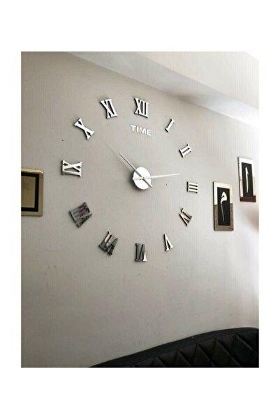 Wooden Factory Gümüş Dekoratif 3d Duvar Saati Pleksi Ayna Roma Rakamlı Büyük Boy