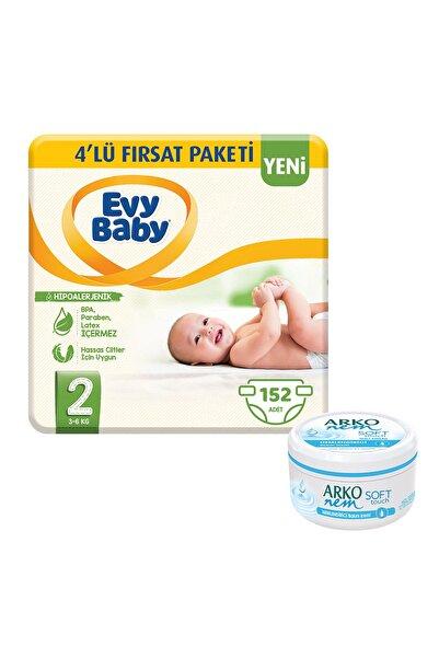 Evy Baby Bebek Bezi 2 Beden Mini 4'lü Fırsat Paketi 168 Adet Ve Gliserin Krem 300ml