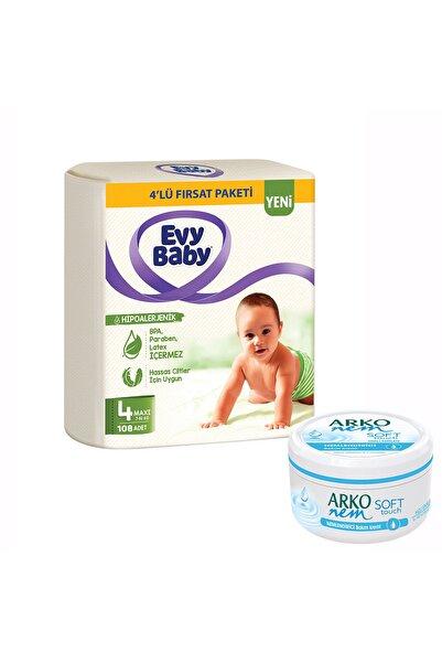 Evy Baby Bebek Bezi 4 Beden Maxi 4'lü Fırsat Paketi 120 Adet Ve Gliserin Krem 300ml