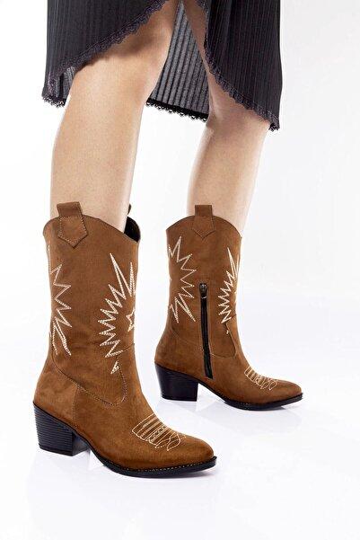 Bak Store Taba Süet Kadın Nakışlı Fermuarlı Western Kovboy Çizme Bot