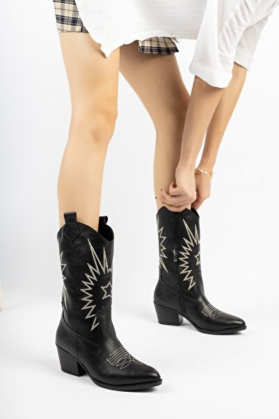 Bak Store Siyah Cilt Kadın Nakışlı Fermuarlı Western Kovboy Çizme Bot