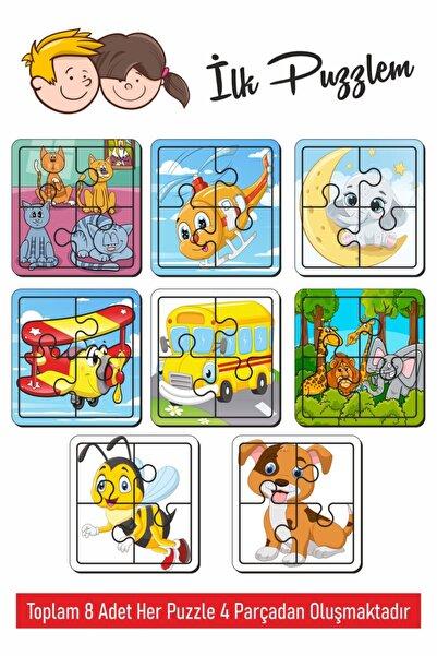 Baskı Atölyesi Sevimli Arı, Köpek, Kedi, Aydede, Helikopter, Uçak, Hayvanlar, Kediler Oluşan Ahşap Puzzle 4 Parça