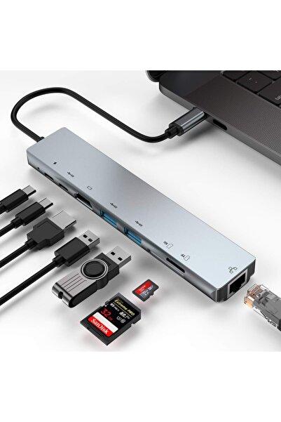 HMXPLUS Macbook Uyumlu 8 In 1 4k Type C Usb 3.0 Hub Hdmı Tv Yansıtma
