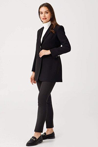 Moda İlgi Çift Dügme Uzun Ceket Siyah