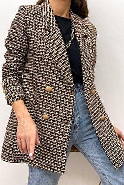 Kadın Kahverengi Desenli Blazer Ceket
