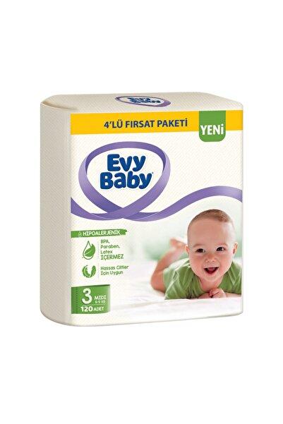 Evy Baby Bebek Bezi 3 Beden Midi 4'lü Fırsat Paketi 136 Adet Yeni