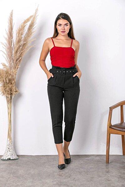 Kadın Modası Kadın Siyah Yüksek Beli Pileli Kaplama Kemerli Cepli Dar Paça Kumaş Pantolon
