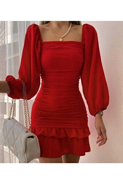 tknfashion Eteği Katlı Uzun Kollu Esnek Krep Kumaş Kırmızı Abiye Elbise Gece Elbisesi Mini Elbise 581878 639