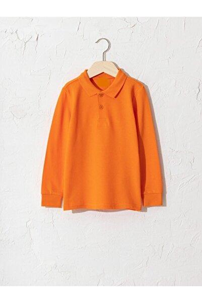 NZY Tekstil Turuncu Polo Yaka Uzun Kol Çocuk Okul Tişört