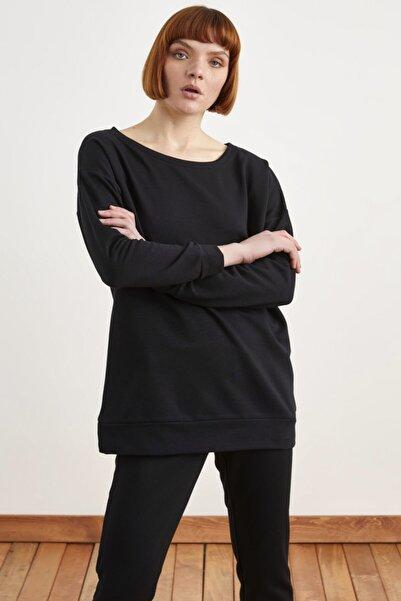 Love My Body Kadın Siyah Uzun Kol Oversize Sweatshirt