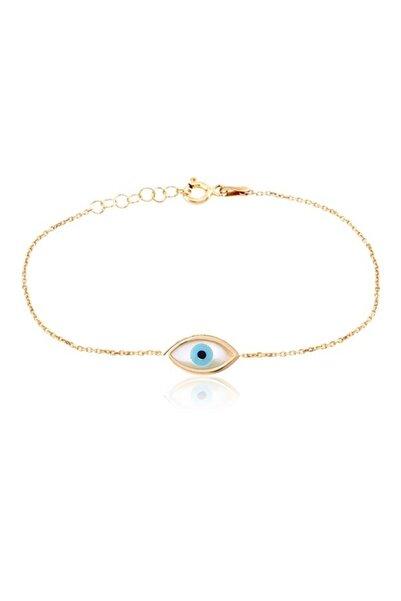 Coşar Silver Sedef Göz Desenli Sembol Nazar Boncuklu Altın Kaplamalı Gümüş Bileklik