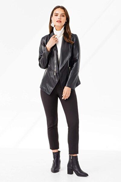 Moda İlgi Şal Yaka Kuplu Kısa Deri Ceket Siyah