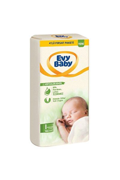 Evy Baby Bebek Bezi 1 Beden Yenidoğan 4'lü Fırsat Paketi 160 Adet (YENİ)