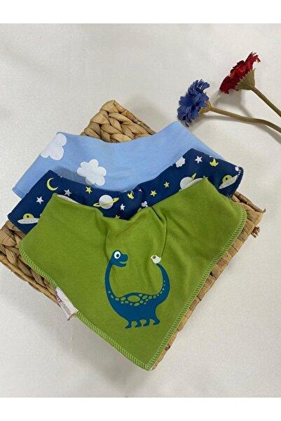 Ponpon Baby Erkek Bebek Mavi Fular Önlük 3'lü