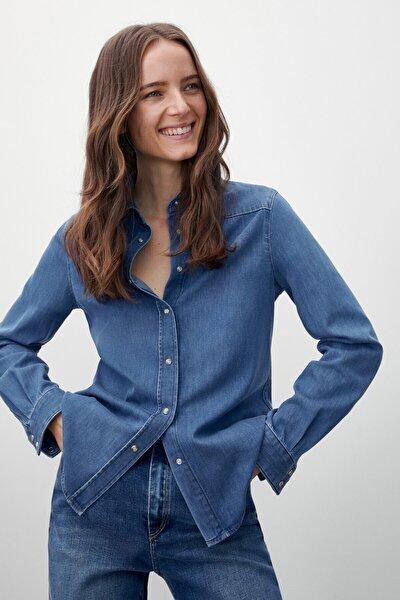 Massimo Dutti Kadın Mavi %100 Pamuklu Denim Gömlek 05148663