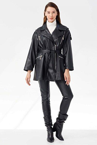 Moda İlgi Modailgi Oversize Kruvaze Deri Ceket Siyah