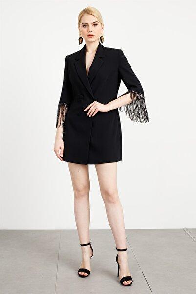 Moda İlgi Modailgi Kol Püsküllü Kruvaze Ceket Siyah