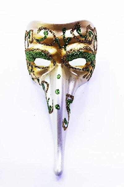 Samur Yeşil Renk Işlemeli Seramik Malzemeden Imal Venedik Uzun Maske Magnet