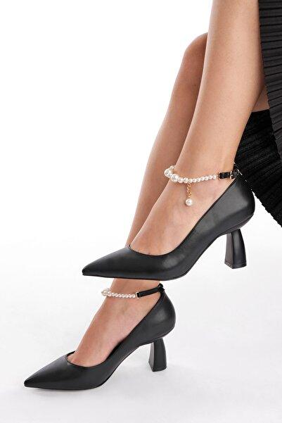 Marjin Kadın Incili Stiletto Topuklu Ayakkabı Mesrisiyah