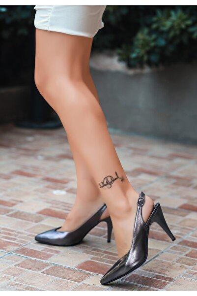 VİVA Gomi Platin Cilt Topuklu Ayakkabı