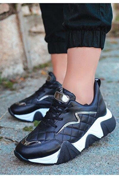 VİVA Renz Siyah Cilt Gümüş Detaylı Spor Ayakkabı