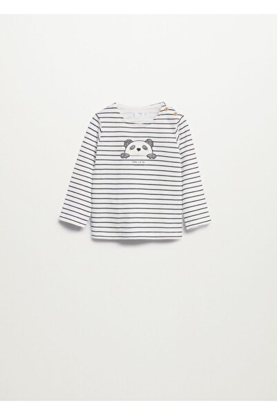 MANGO Baby Bebek Kırık Beyaz Çizgili Uzun Kollu Tişört