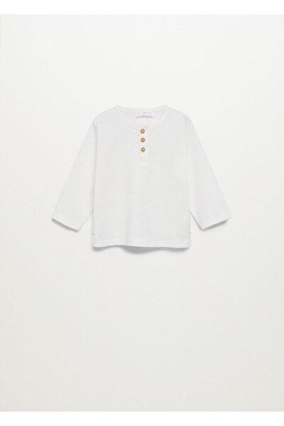 MANGO Baby Bebek Kırık Beyaz Pamuklu Henley Tişört