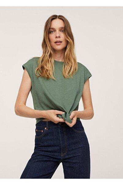 MANGO Woman Kadın Yeşil Sırtı Cut-out Kesim Pamuklu Tişört