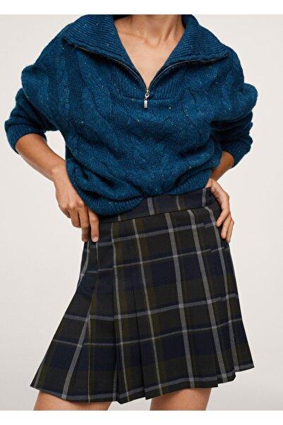 MANGO Woman Kadın Yeşil Kareli Mini Etek