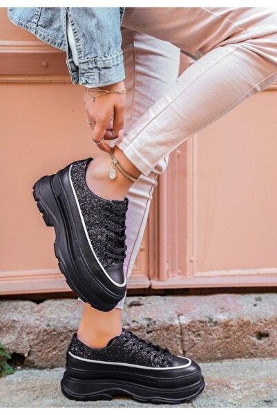 VİVA Bery Siyah Cilt Simli Bağcıklı Spor Ayakkabı