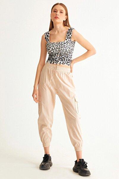 Fulla Moda Beli Ve Paçası Lastikli Kargo Cepli Pantolon