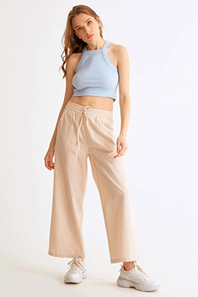 Fulla Moda Beli Lastikli Bol Kesim Pantolon