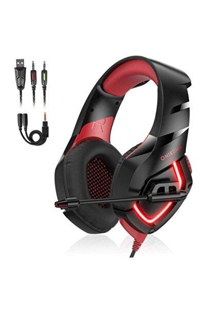 Onikuma Siyah K18 Profesyonel Mikrofonlu Kırmızı Led Işıklı Gaming Oyuncu Kulaklığı