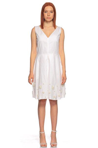 PHILOSOPHY FERRETTI V Yaka Beyaz Elbise