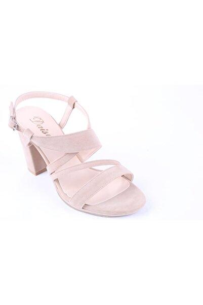 Daisy 532 Kadın 9 Cm Topuklu Süet Sandalet Ayakkabı