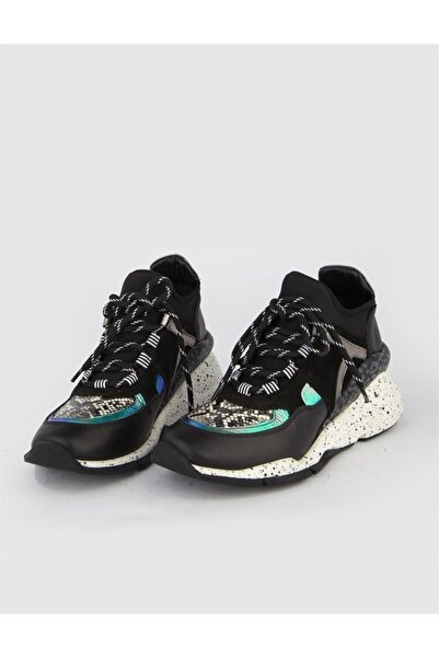 İLVİ Ronny Kadın Spor Ayakkabı Siyah Hologram Yılan