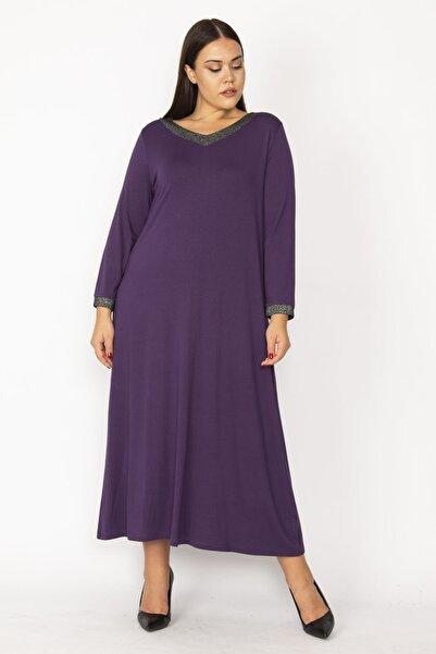 Şans Kadın Mor Yaka Ve Kol Ağzı Sim Detaylı V Yakalı Uzun Elbise 65N28732