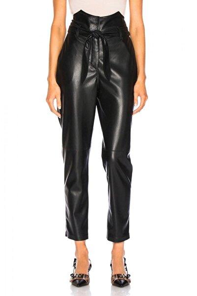 By Umut Design Kadın Siyah Yüksek Bel Kuşaklı Deri Pantolon 4552435