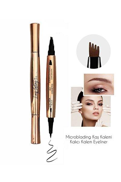 AİLY COSMETİCS Rose Yeni Model Çift Taraflı Kalıcı Kaş Kalemi & Kalem Eyeliner