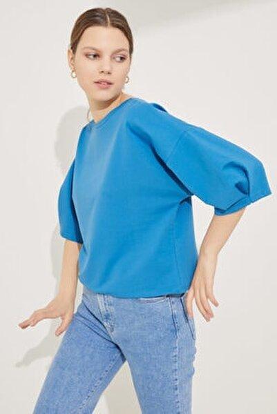 Kadın Mavi Kolları Pileli Crop Bluz