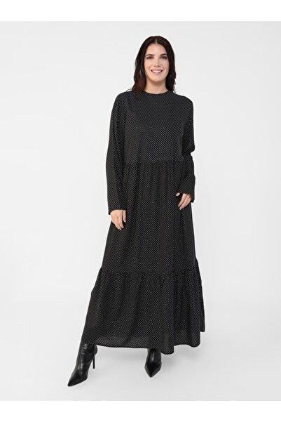 ALİA Büyük Beden Doğal Kumaşlı Puantiye Desenli Elbise -siyah Beyaz -
