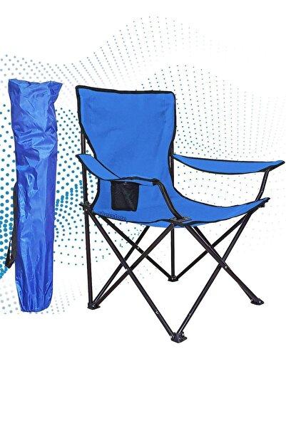 Shey Çantalı Kamp Sandalyesi Balıkçı Plaj Piknik Koltuk Mavi