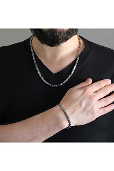 HepNaturel Silver Renk Kalınlık 5 Mm 317l Çelik Kral Zincir&bileklik Kombini