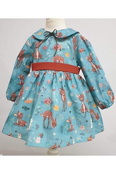 Elifartbaby Turkuaz Ceylanlı Bebek Elbisesi