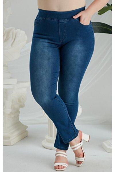 RMG Kadın Mavi Beli Lastikli Büyük Beden Kim Pantolon