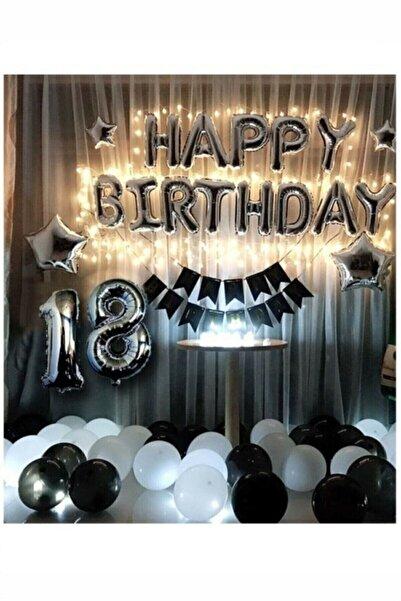 BİDOLUMUTLULUK Happy Birthday Gümüş Siyah Beyaz Set