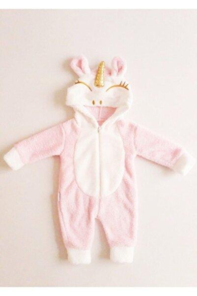 Bebesev Baby Kız Bebek Pembe Peluş Unicorn Tulum