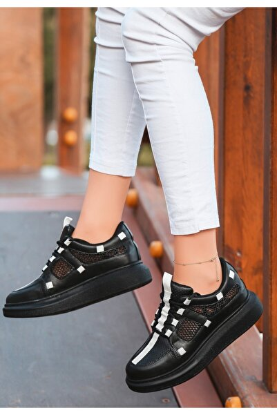 VİVA Ponixi Siyah Cilt Fileli Spor Ayakkabı
