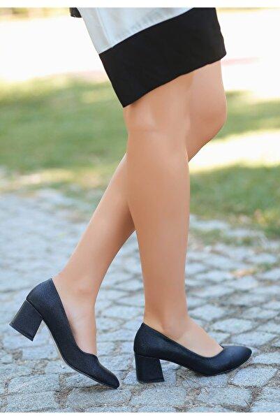 VİVA Pent Siyah Cilt Simli Topuklu Ayakkabı