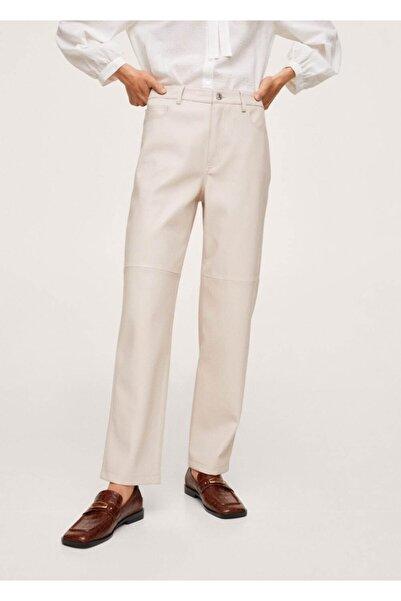 MANGO Woman Kadın Ekrü Deri Görünümlü Düz Kesim Pantolon